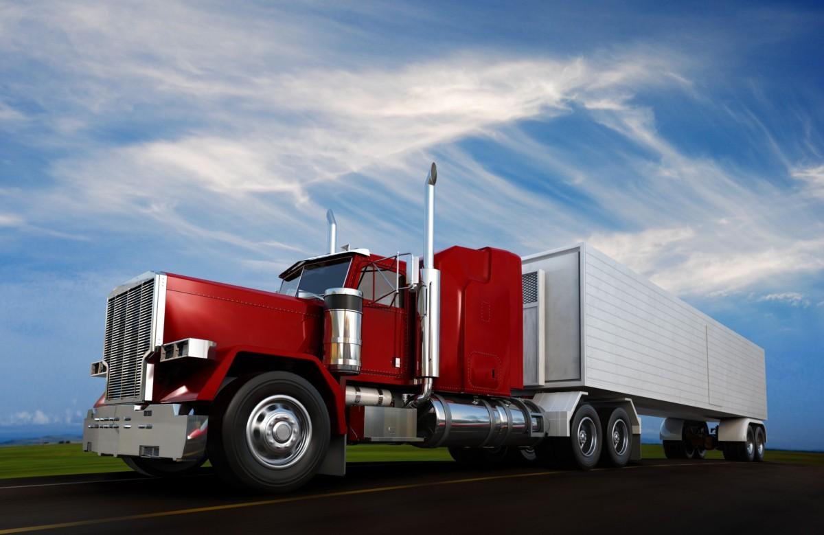 n 18 wheeler semi-truck sppeding on highway