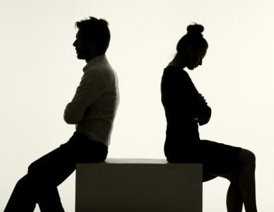 Sad couple having an argument