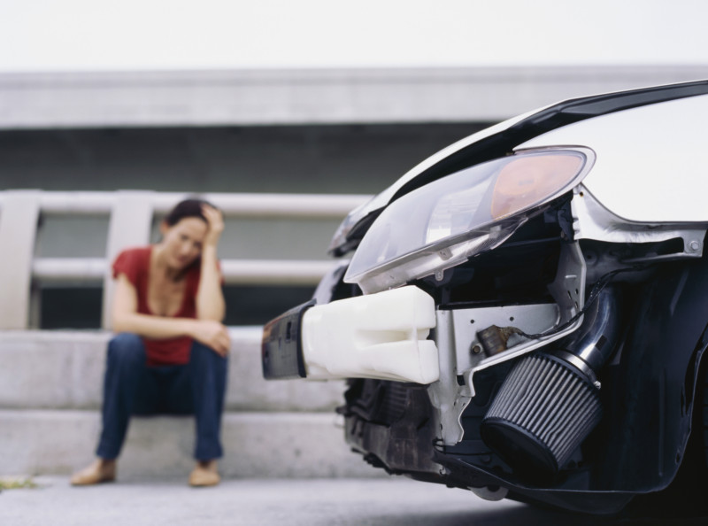 Low angle view of the front part of a car after an accident